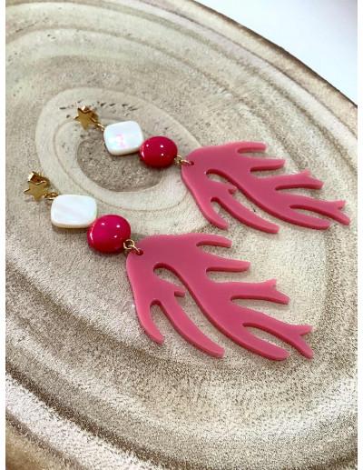 Pendientes Coral Rosa
